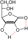 Puentes de hidrógeno del ácido ascórbico