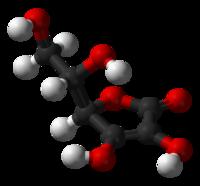 molécula 3D del ácido ascórbico